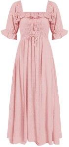 R.YIposha Women Vintage Elastic Square Neck Ruffled Half Sleeve Summer Backless Beach Flowy Maxi Dresses