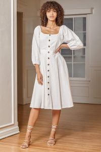 Happiest With You White Lace-Up Button-Front Midi Dress