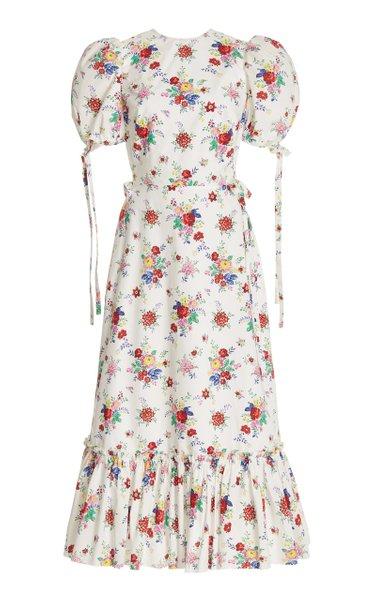 Moda Operandi The Vampire's Wife Honey Trap Floral-Print Cotton Midi Dress
