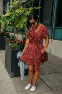 Amoretu Women's V Neck Loose Summer Swing Shift Pleated Dresses