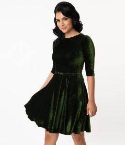 Unique Vintage Olive Green Velvet Stephanie Fit & Flare Dress