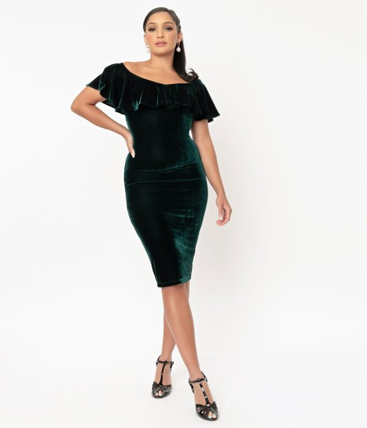 Unique Vintage Emerald Green Velvet Sophia Wiggle Dress