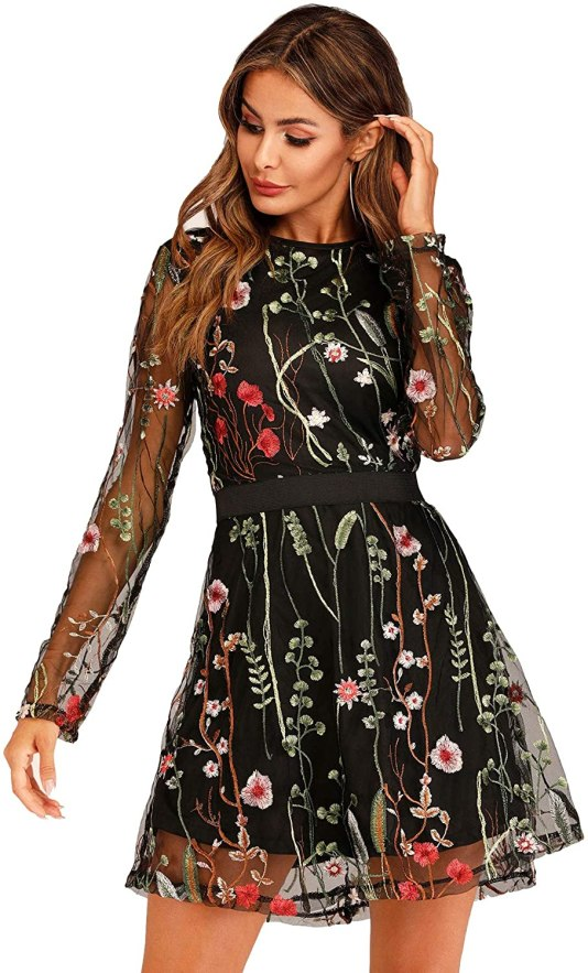 Milumia Women's Floral Embroidery Mesh Round Neck Tunic Party Dress