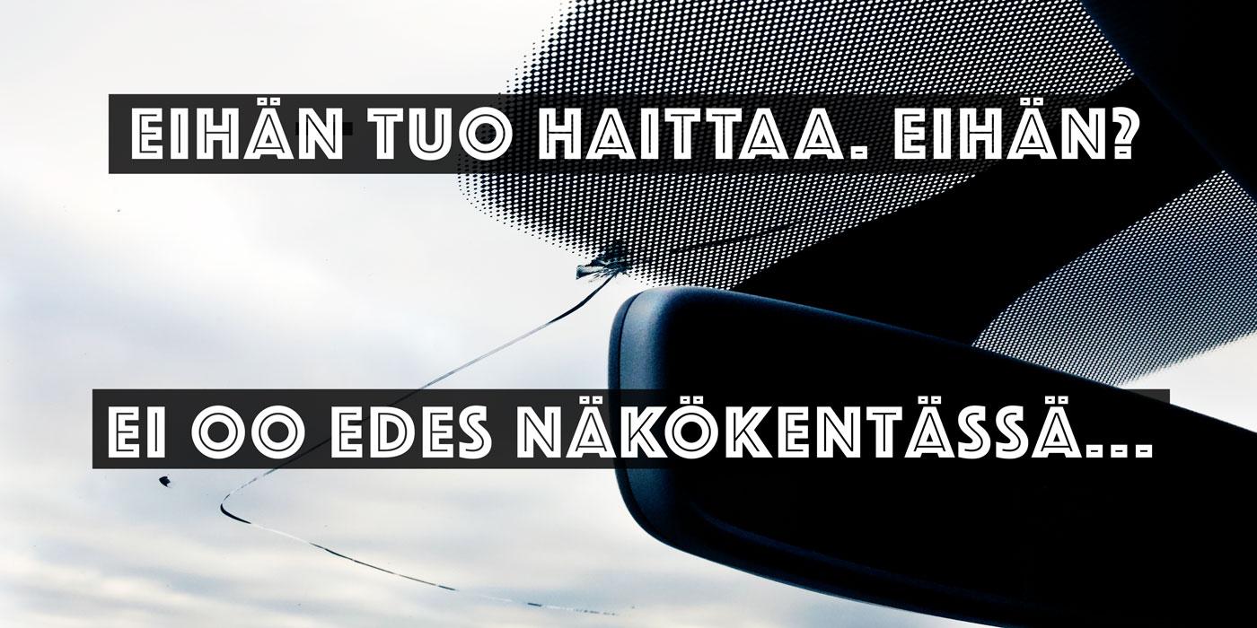 Rikkinäinen tuulilasi voi vaikuttaa näin paljon auton turvallisuuteen!