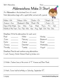 Abbreviations Grade Worksheets High School. Abbreviations