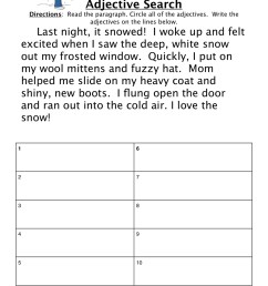 Adjectives Snow Story Worksheet • Have Fun Teaching [ 1294 x 1000 Pixel ]