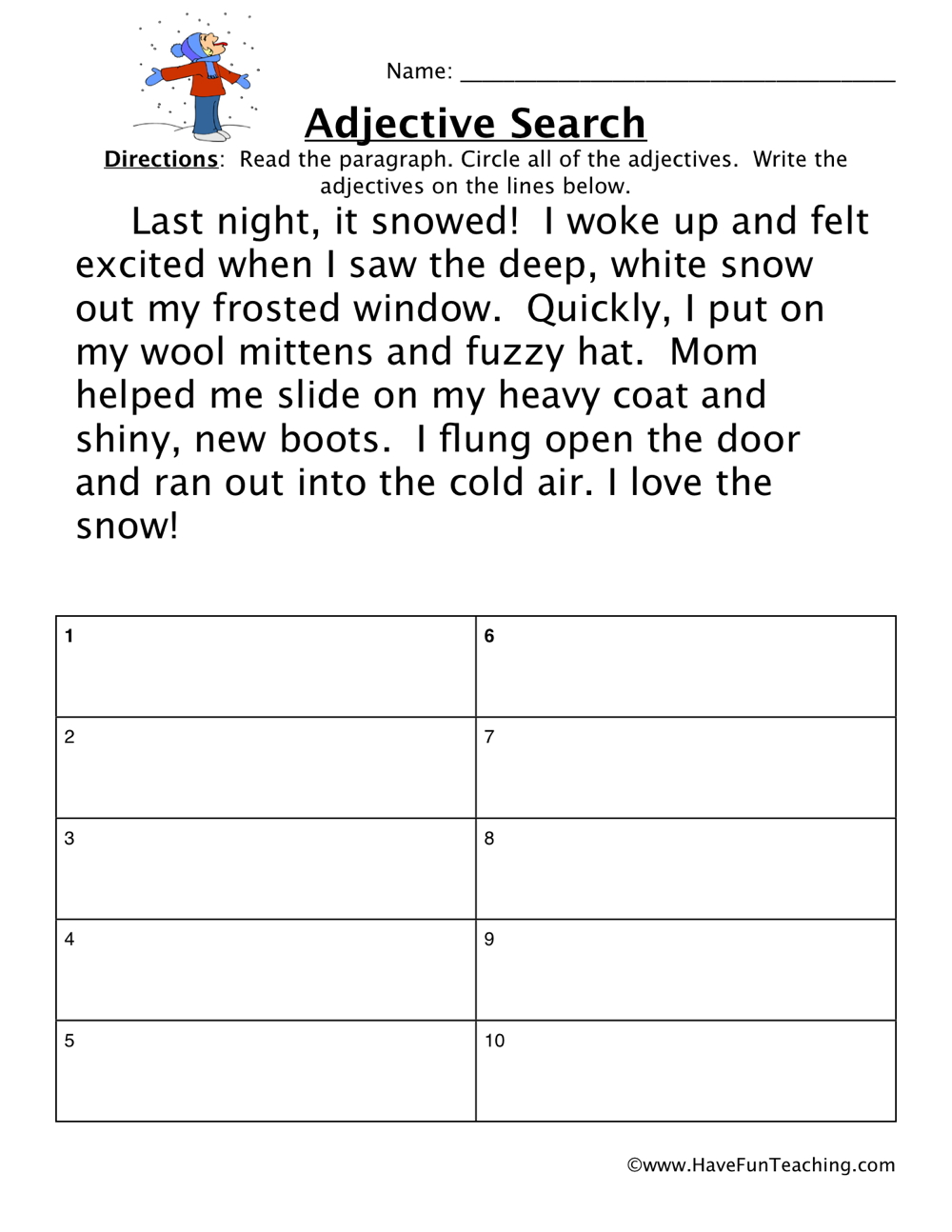 hight resolution of Adjectives Snow Story Worksheet • Have Fun Teaching