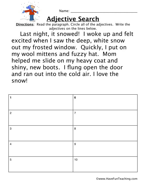 small resolution of Adjectives Snow Story Worksheet • Have Fun Teaching