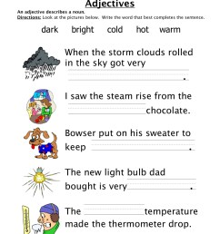 Adjectives Temperature Worksheet • Have Fun Teaching [ 1294 x 1000 Pixel ]