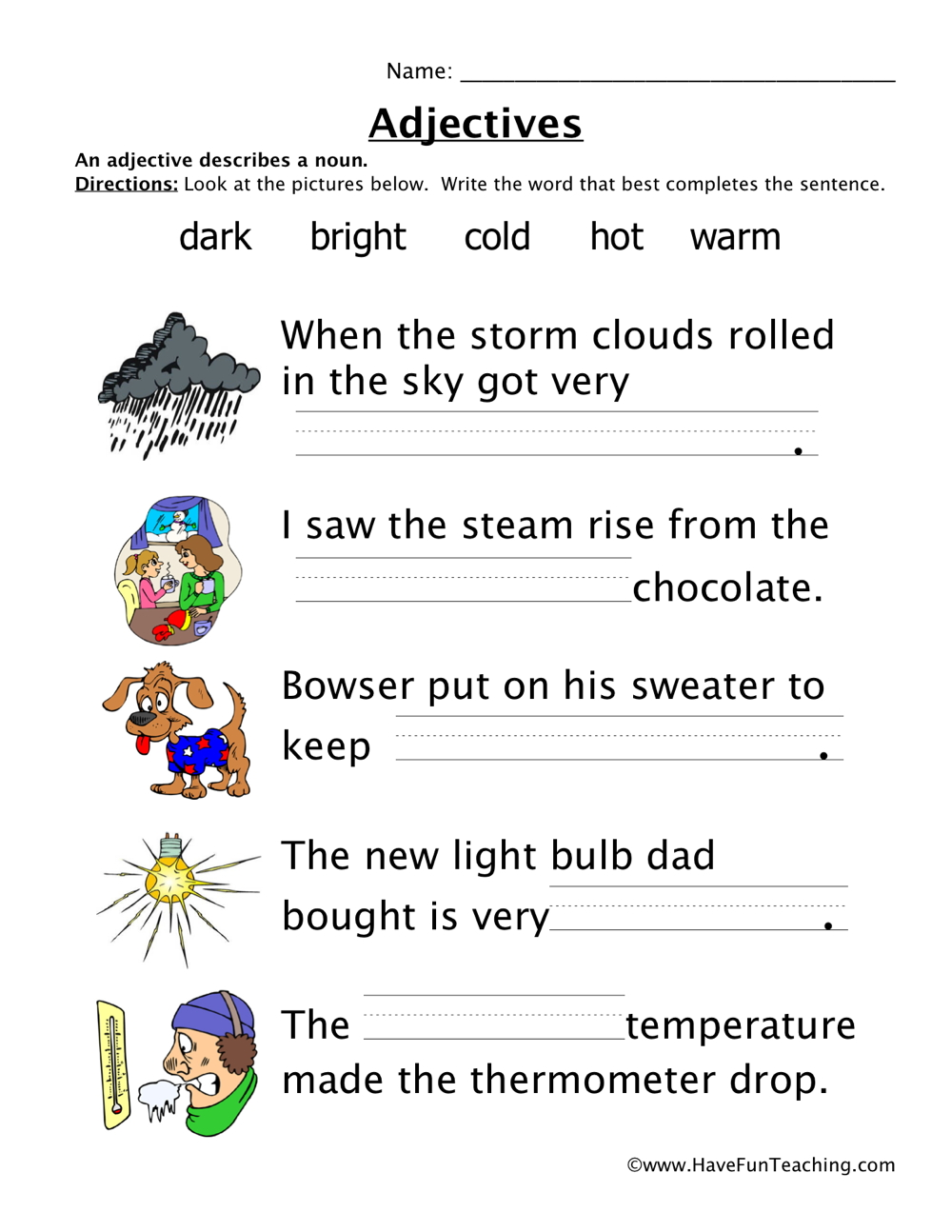 hight resolution of Adjectives Temperature Worksheet • Have Fun Teaching