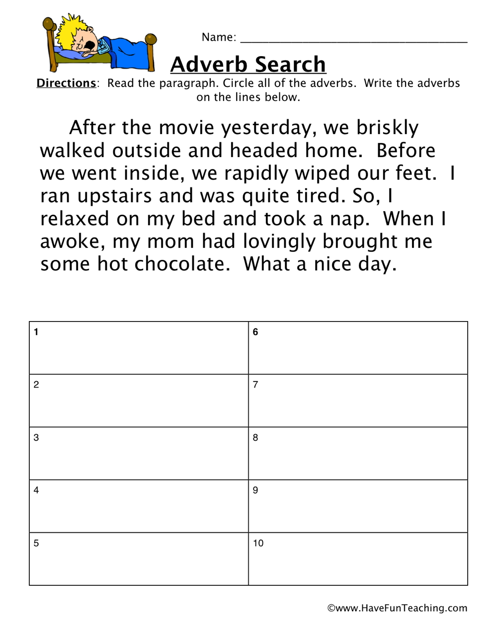 medium resolution of Adverb Movie Worksheet • Have Fun Teaching