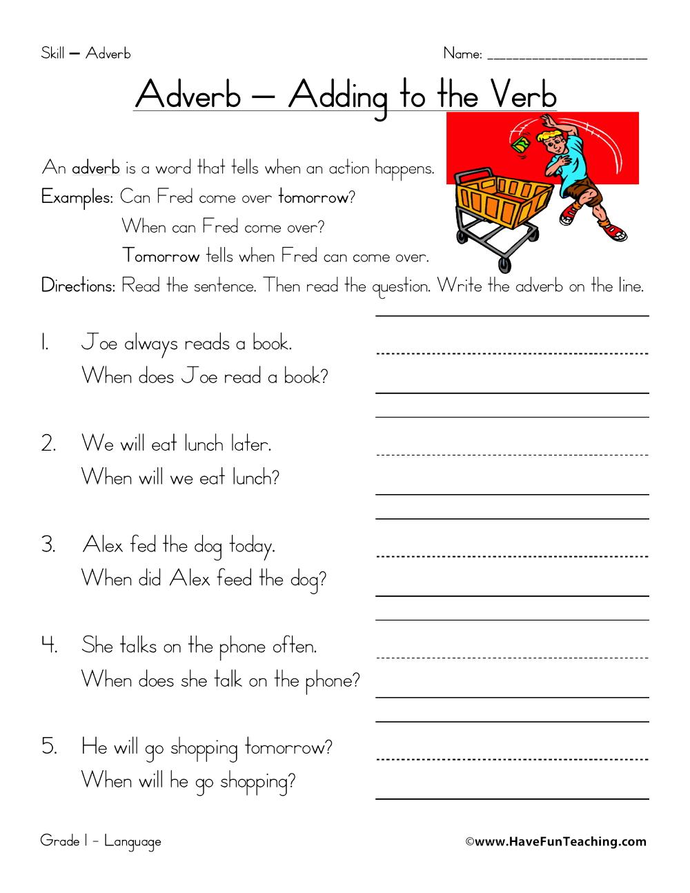 medium resolution of When Adverbs Worksheet • Have Fun Teaching