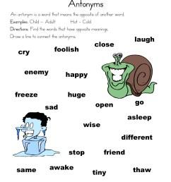 Antonym Matching Worksheet • Have Fun Teaching [ 1294 x 1000 Pixel ]