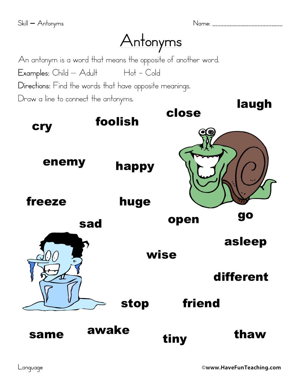 hight resolution of Antonym Matching Worksheet • Have Fun Teaching