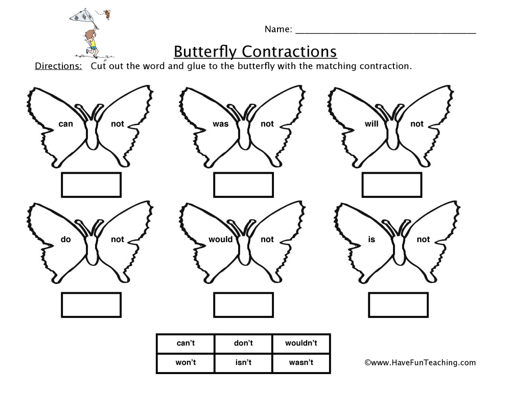 English Contractions Worksheets Resources
