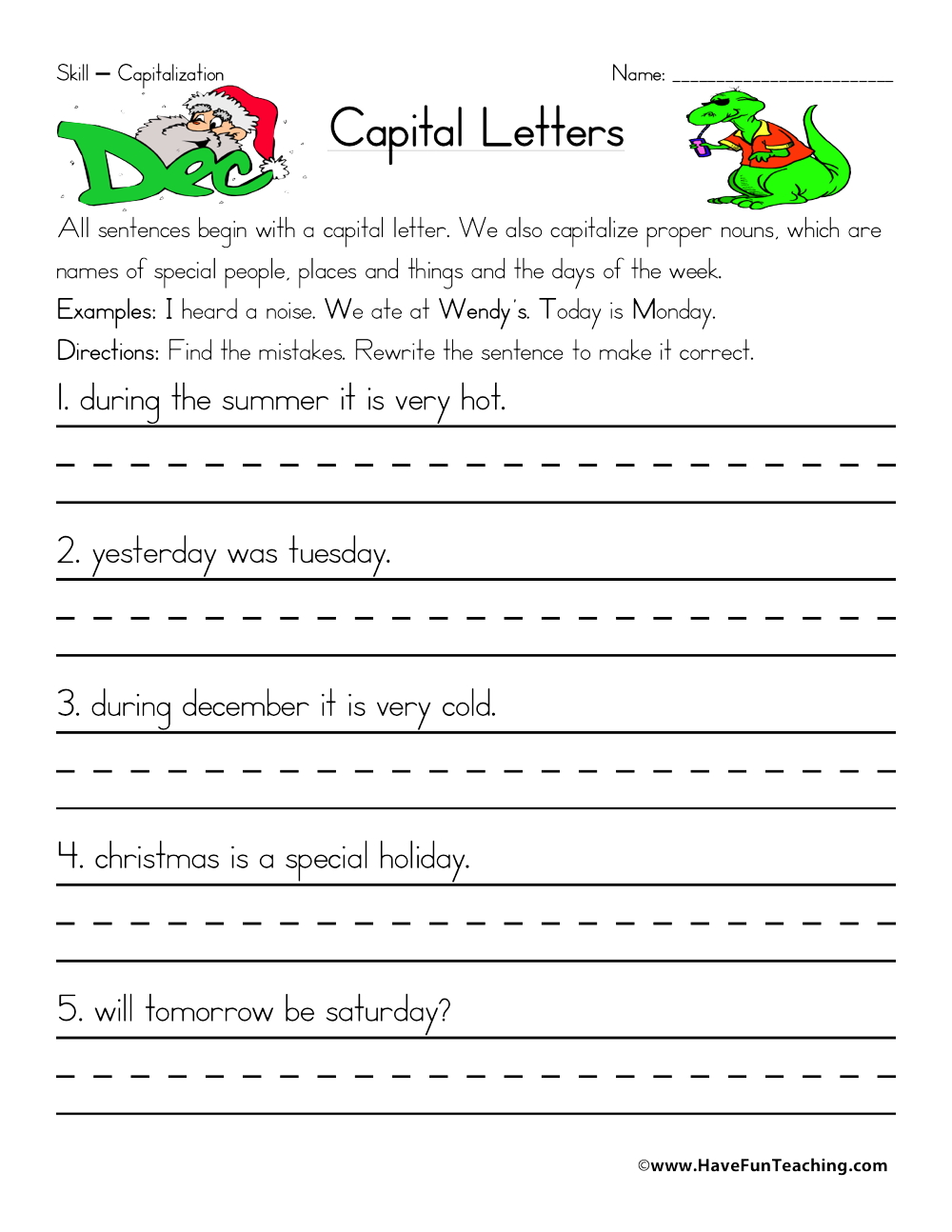 hight resolution of Fixing Capitalization Errors Worksheet • Have Fun Teaching