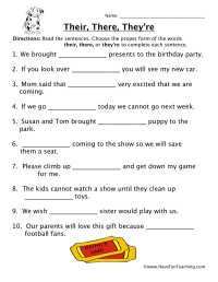 Homophone Worksheet - Their, There, They're - Have Fun ...