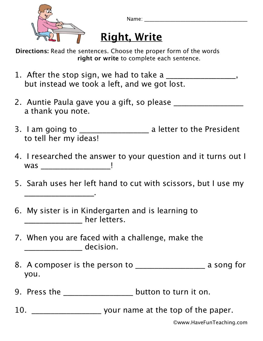 Homophone Worksheet