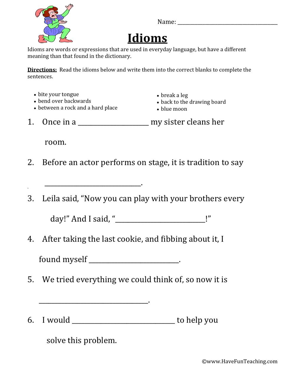 medium resolution of Defining Idioms Worksheet • Have Fun Teaching