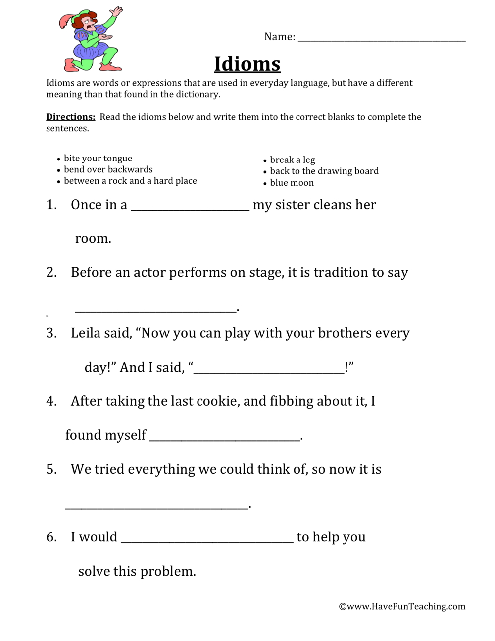 hight resolution of Defining Idioms Worksheet • Have Fun Teaching