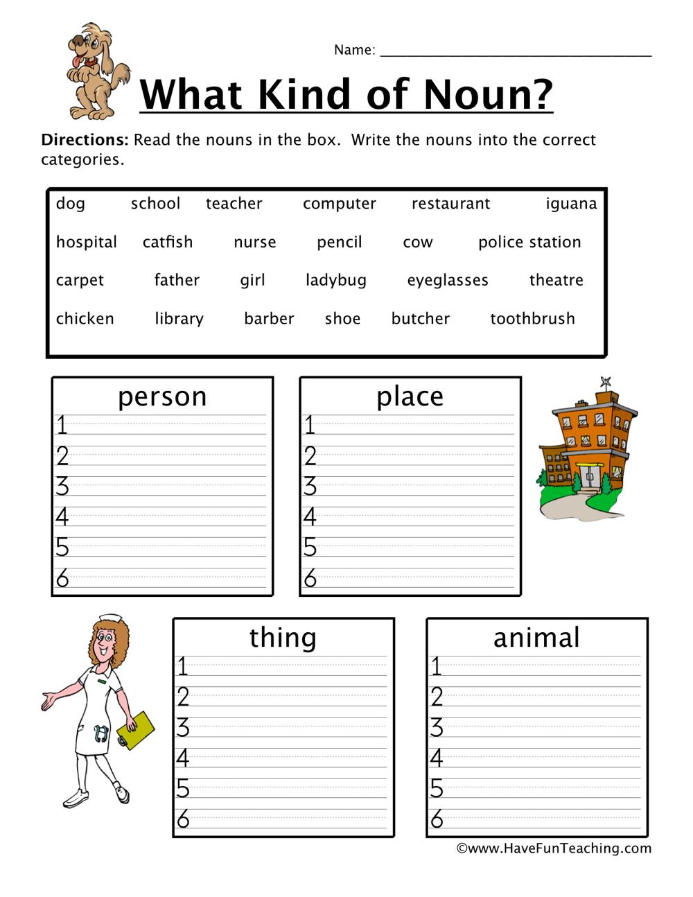 medium resolution of Noun Sorting Worksheet • Have Fun Teaching