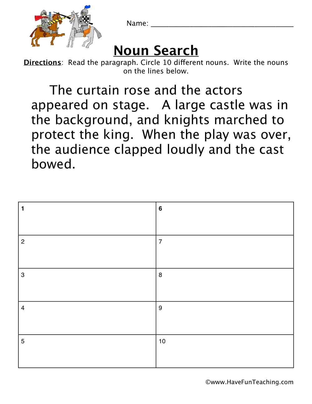 hight resolution of Searching for Nouns Worksheet • Have Fun Teaching