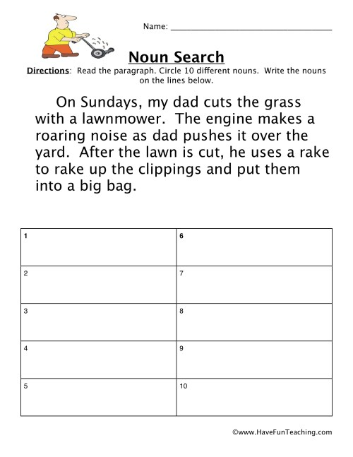 small resolution of Finding Nouns Worksheet • Have Fun Teaching