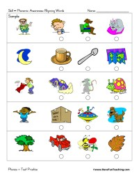 Rhyming Worksheets Kindergarten