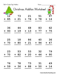Christmas Double Digit Addition Worksheet | Have Fun Teaching