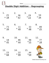 Double Digit Addition With Regrouping Worksheet
