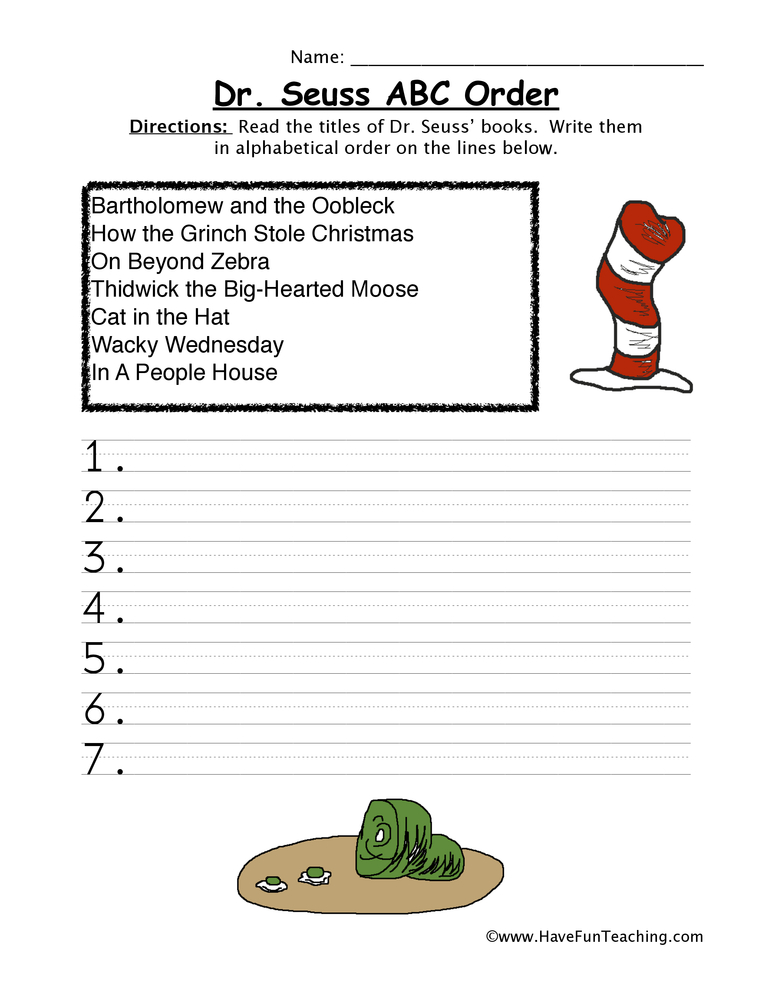 Dr. Seuss Worksheets