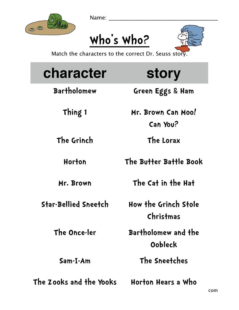 Dr Seuss Worksheets