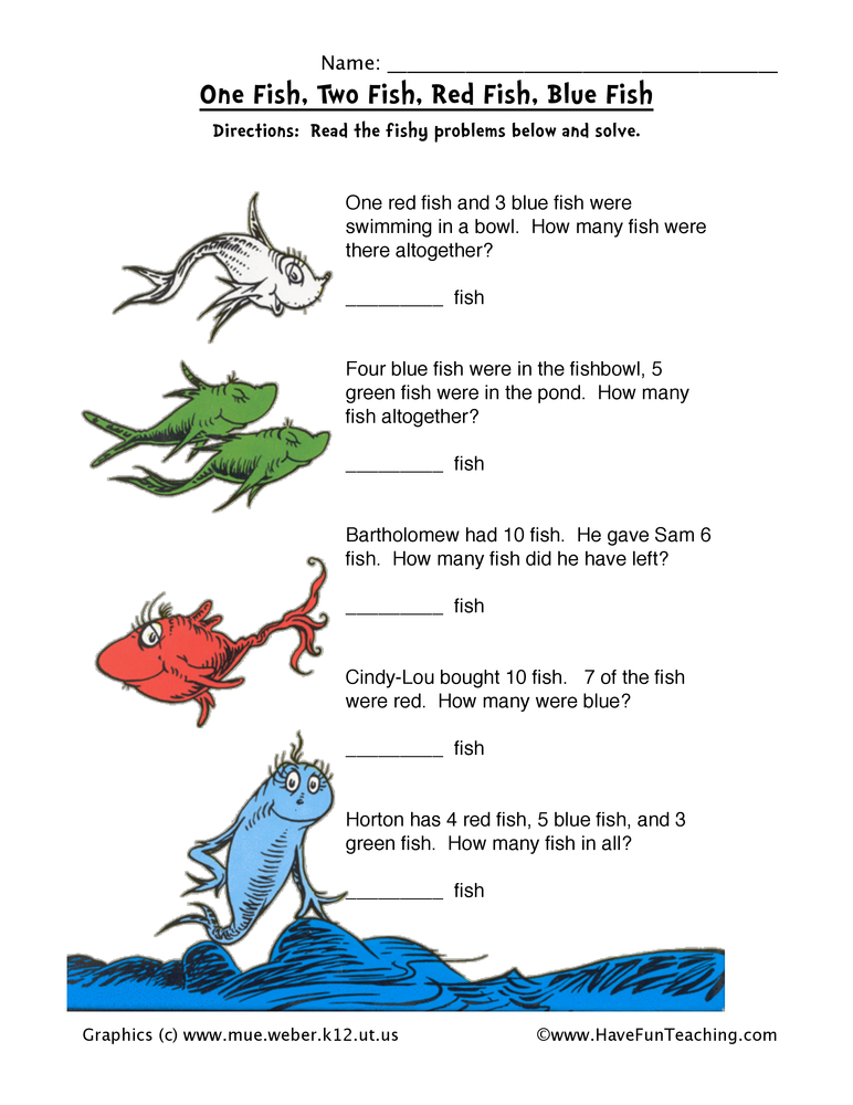 Dr. Seuss Math Worksheet