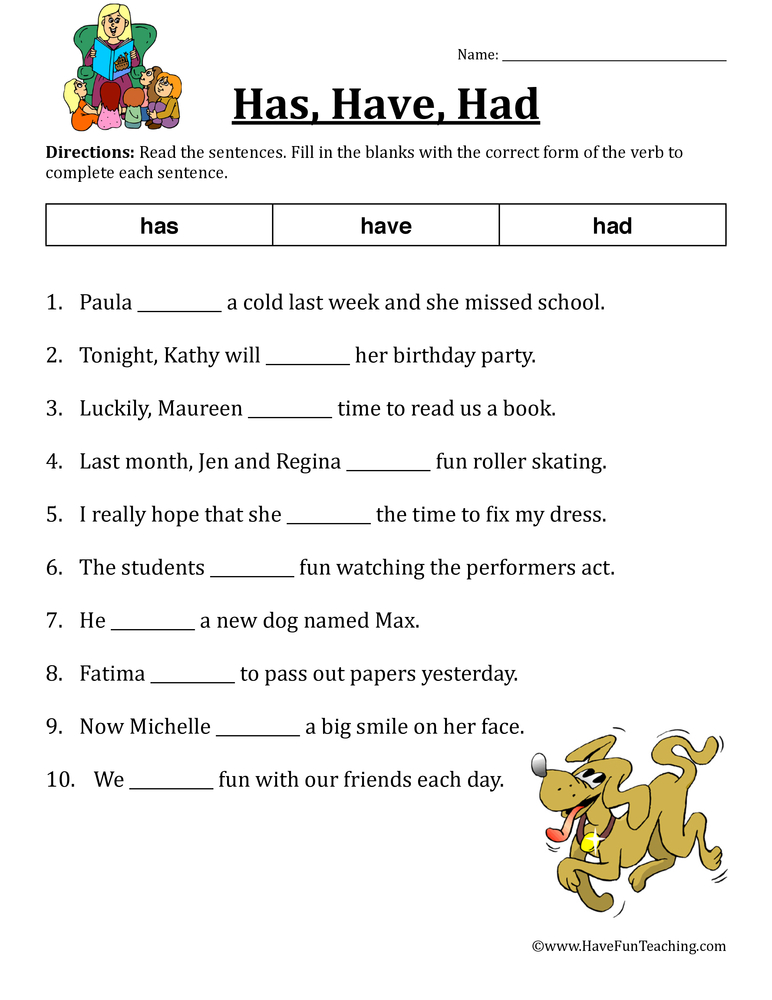 Verb Worksheets