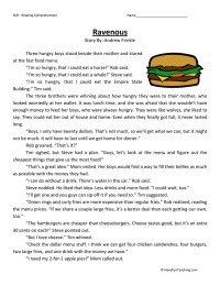 Ravenous - Reading Comprehension Worksheet