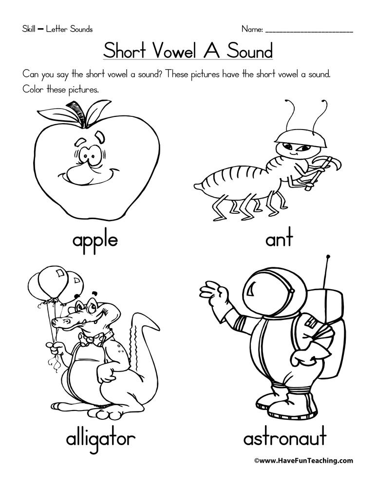 Number Line Worksheets » Short Vowel Coloring Worksheets