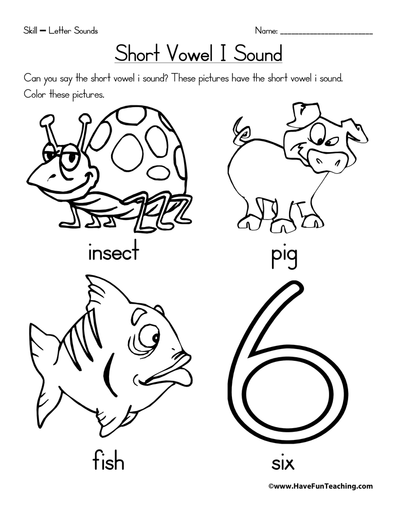 Short Vowel Sound Coloring Sheets Coloring Pages