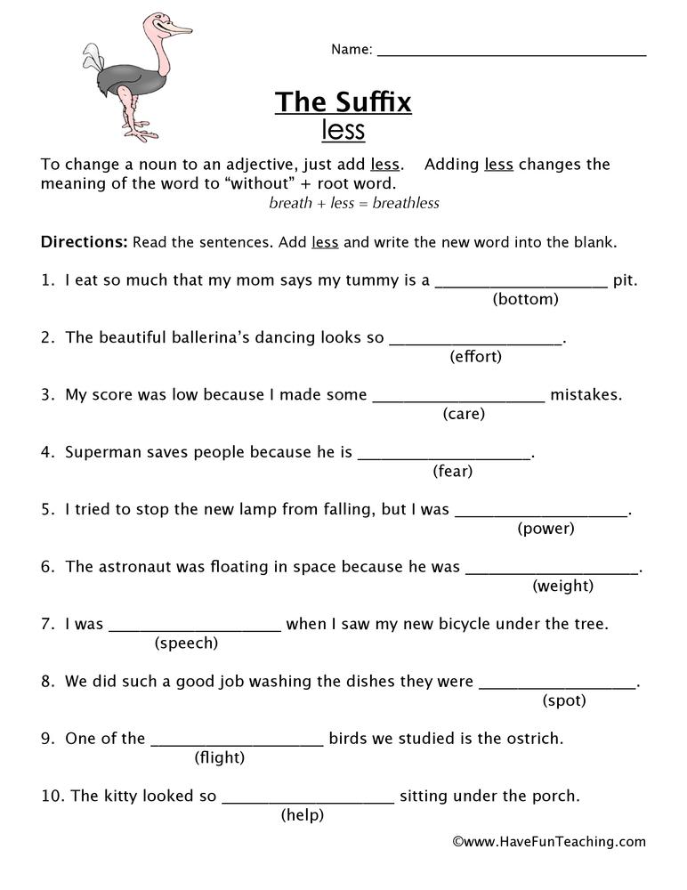 Suffix Worksheet Ful