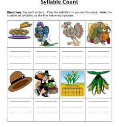 Thanksgiving Syllables Worksheet • Have Fun Teaching [ 1294 x 1000 Pixel ]