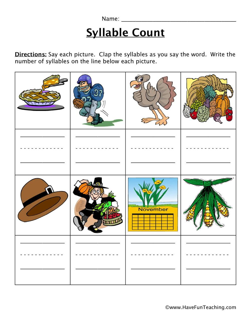 medium resolution of Thanksgiving Syllables Worksheet • Have Fun Teaching