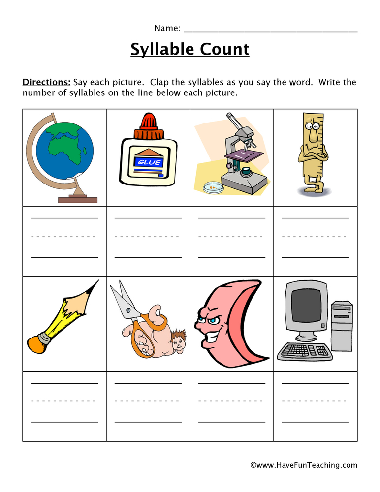 Syllable Worksheet 6