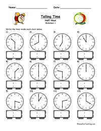 Telling Time Worksheet - To The Half Hour | Have Fun Teaching