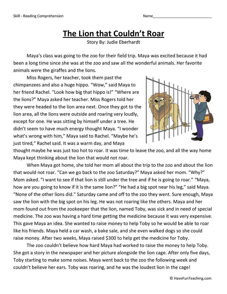 The Lion That Couldn T Roar Reading Comprehension