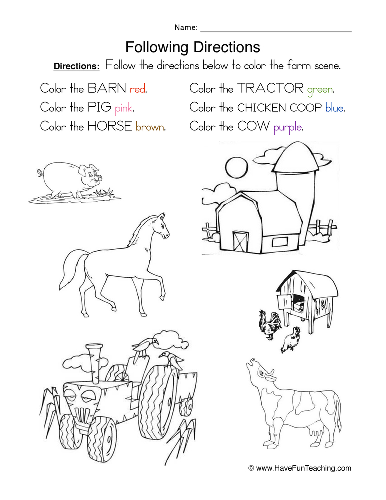 Following Directions Coloring Worksheets Coloring Pages