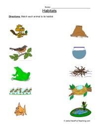 Animal Habitats Worksheet - Matching