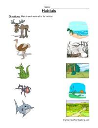 Animal Habitats Worksheet - Matching 2