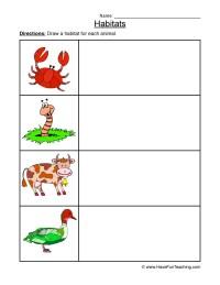 Animal Habitats Worksheet - Drawing 2