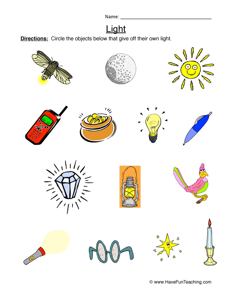 Objects that Give off Light Worksheet • Have Fun Teaching