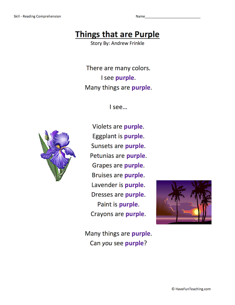 Things That Are Purple Reading Comprehension Worksheet