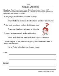 Fact and Opinion Worksheets | Have Fun Teaching